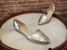 Isaac Mizrahi Gold Perforated Leather D'orsay Flats NEW Nikki