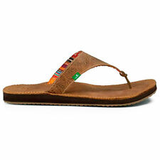 Sanuk Womens Mosey Up Leather Sandals Flip Flops Brown New