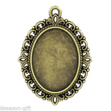 "Wholesale Cameo Frame Setting Pendants Oval Bronze Tone 4cmx3cm(1 5/8""x1 1/8"")"