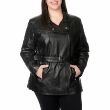 EXcelled Women's Plus Size Lambskin Belted Jacket