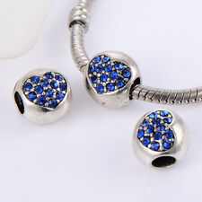 5Pcs Womens Silver Plated blue Charm Beads 5mm Hole Heart Fit Chain Bracelet