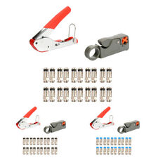 Wire Stripper F-Head Coaxial Cable Stripper Wire Cutter +Connectors 2 Colors