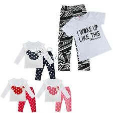 Baby Kids Girls Toddler Minnie Hoodie T Shirt Tops Pants Cartoon Outfits Clothes