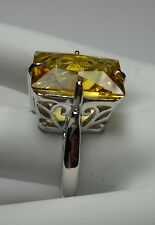 8ct Rectangle*Yellow Citrine* Sterling Silver Filigree Ring Size {Made To Order}