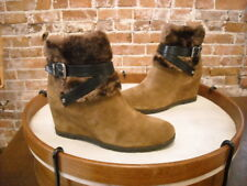 Marc Fisher Trevis Brown Suede Faux Fur Wedge Ankle Boots NEW