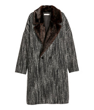 H&M Trend Conscious Gray Black Double Breasted w/Collar Wool Coat sz  4 6 8 10