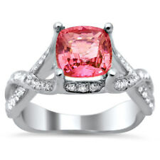 Noori 18k White Gold 1 3/5ct TGW Cushion-cut Diamond and Pink Sapphire Ring