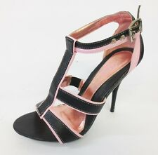 Ladies Spot On Pink/Black Strappy Sandals F1452