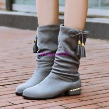 Vintage WomenS Slouch Tassel Flats Mid Calf Boot Girl Suede Pull On Shoes SZ