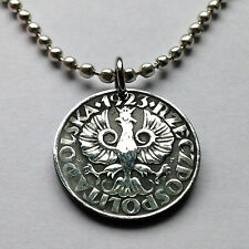 Poland 20 Groszy coin pendant Polish crowned white EAGLE Polska WWII n001699