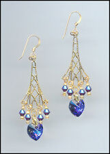 Sparkling Gold Earrings with Swarovski HELIOTROPE PURPLE Crystal Hearts