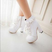 Sweet girl Womens Lolita Lace Up Zip chunky High Heels Ankle Boots Shoes cosplay