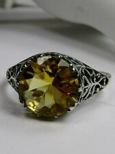 4ct *Yellow Citrine* Solid Sterling Silver Ivy Floral Filigree Ring Size Any/MTO