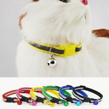 For Cat Adjustable Reflective Breakaway Nylon Cat Safety Collar with Bell NEW FT