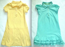 LANDS' END Girls STRIPED Collar Yellow Pink Aqua DOT POLO DRESS Shirtdress 6 7