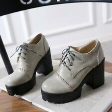 Womens block Chunky High Heels Shoes Platform Pumps Oxfords Lace Up preppy round