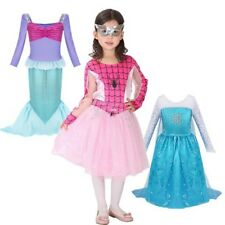 Kids Girls Halloween Spider Mermaid Toddler Long Sleeve Princess Costume Dress