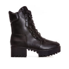 Womens Truffle Collection Platform Lace Up Biker Boots In Black