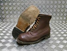 Genuine Vintage Leather M59 Swedish Military Brown Square Toe Boots 1960`s