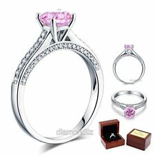 925 Sterling Silver Classic Engagement Ring 1.25 Carat Pink Lab Created Diamond