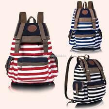 New Fashion Women Girls Backpack Canvas Stripe Leisure Bags School Leisure Bag