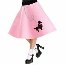 Adult 50s 50's Car Hop Soda Pink Costume Poodle Skirt Dress - S/M 2-8, M/L 10-14