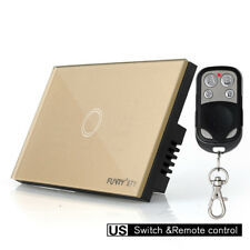 FUNRY US Wall Panel Smart Touch Light Switch 1-Gang 1-Way & Remote Control Gold