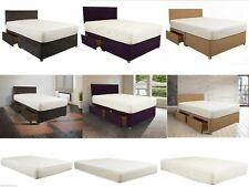 DIVAN BED with DRAWERS STORAGE & HEADBOARD QUILTED MATTRESS OPT 3FT 4FT 4FT6 5FT