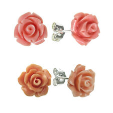 Sterling Silver Simulated Pink / Orange Coral Rose Charm Earring Stud Post 10mm