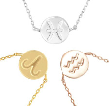 Zodiac Charm Necklace .925 Sterling Silver Rose Yellow Gold Silver Choose Finish