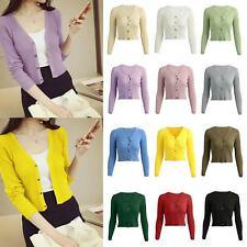 Autumn Winter Solid Color Cardigan Knitted Sweater Women V-neck Long Sleeve I9B0