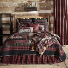 6PC CUMBERLAND RUSTIC PRIMITIVE RED PATCHWORK QUILT SHAMS SKIRT PILLOWS BED SET