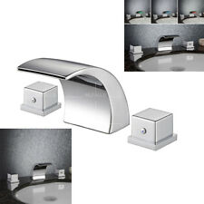 Waterfall Bathroom Basin Sink Faucet Chrome Mixer Tap Modern 2-Handles LED RGB