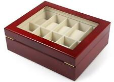 10 Grids Wooden Watch Display Case Box Glass Cover Top Jewelry Storage Organizer