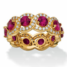 Color Fun Collection 14k Yellow Gold-Plated 4.60ct TW Red Cubic Zirconia Halo