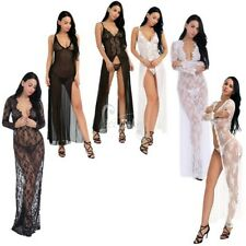 Sexy Lingerie Women's Lace Sheer Long Robe Gown Sleepwear Nightgown + G-string