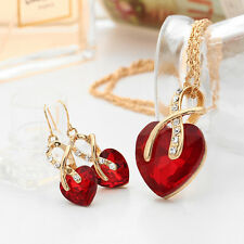 Gold Plated Jewelry Sets Women Crystal Heart Necklace Earrings Bridal Wedding EF