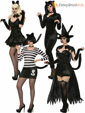 Ladies Black Cat Costume Adults Halloween Sexy Womens Fancy Dress Outfit Catsuit