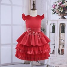 Kid Flower Girl Dress Formal Wedding Bridesmaid Xmas Party Tiered Ruffle Pageant