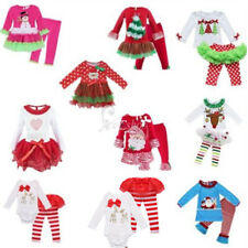 Baby Kids Girls Boys Christmas Romper Top Pants Set Outfit Toddler Santa Costume
