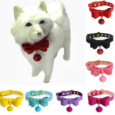 Cat Puppy Dog Adjustable Bell Collar kitten Leather Bow Tie Neck Leash Collar AA