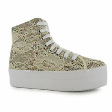 Jeffrey Campbell Play Glitter hOMG Platform Shoes Womens Cream Trainers Sneakers