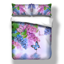 Butterfly Quilt Duvet Doona Cover Set Super King Single Queen Size Floral Covers