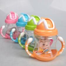 Child Baby Silicone Toddler Handles Straw Non-Spill Cup Drinking Sippy Bottle UK