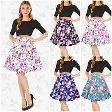 Womens Floral High Waisted Skater Full Circle Pleated A-Line Long Midi Skirt