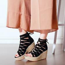 Womens Lace Up Ankle Strap Platfrom Wedge Heels Suede Roman Casual Sandals Shoes