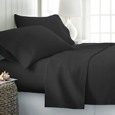 Black Bed Sheet set 6 Piece Solid Color Deep Pocket in Twin XL Full Queen & King