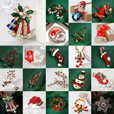 Crystal Christmas Xmas Tree Santa Deer Snowman Brooch Pin Wedding Party Jewelry
