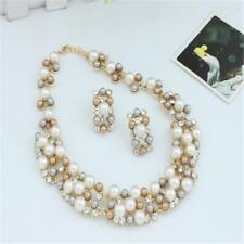 Fashion Women Imitate Pearl Necklace Chunky Statement Bib Necklace + Earrings