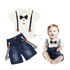 Infant Baby Boys Summer Outfit Gentleman Bowtie T-shirt Jeans Pants Set Clothes